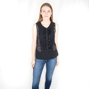RED VALENTINO Black Ruffle Lace Top Panel NWT 0599